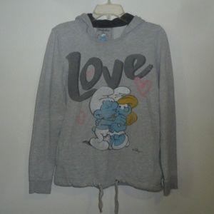 Zara Trafaluc Smurfs Love Hooded Sweatshirt Hoodie